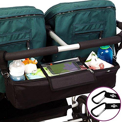BTR Kinderwagen Organizer und Kinderwagentasche plus 2 Kinderwagen Clips