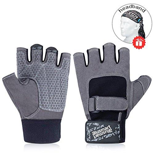 2644e929e8069b Fitness Handschuhe, Blusmart Trainingshandschuhe Halbfinger  Fitnesshandschuhe Sport Handschuhen mit Adjustable Handflächenschutz &  Silica Gel Grip für ...